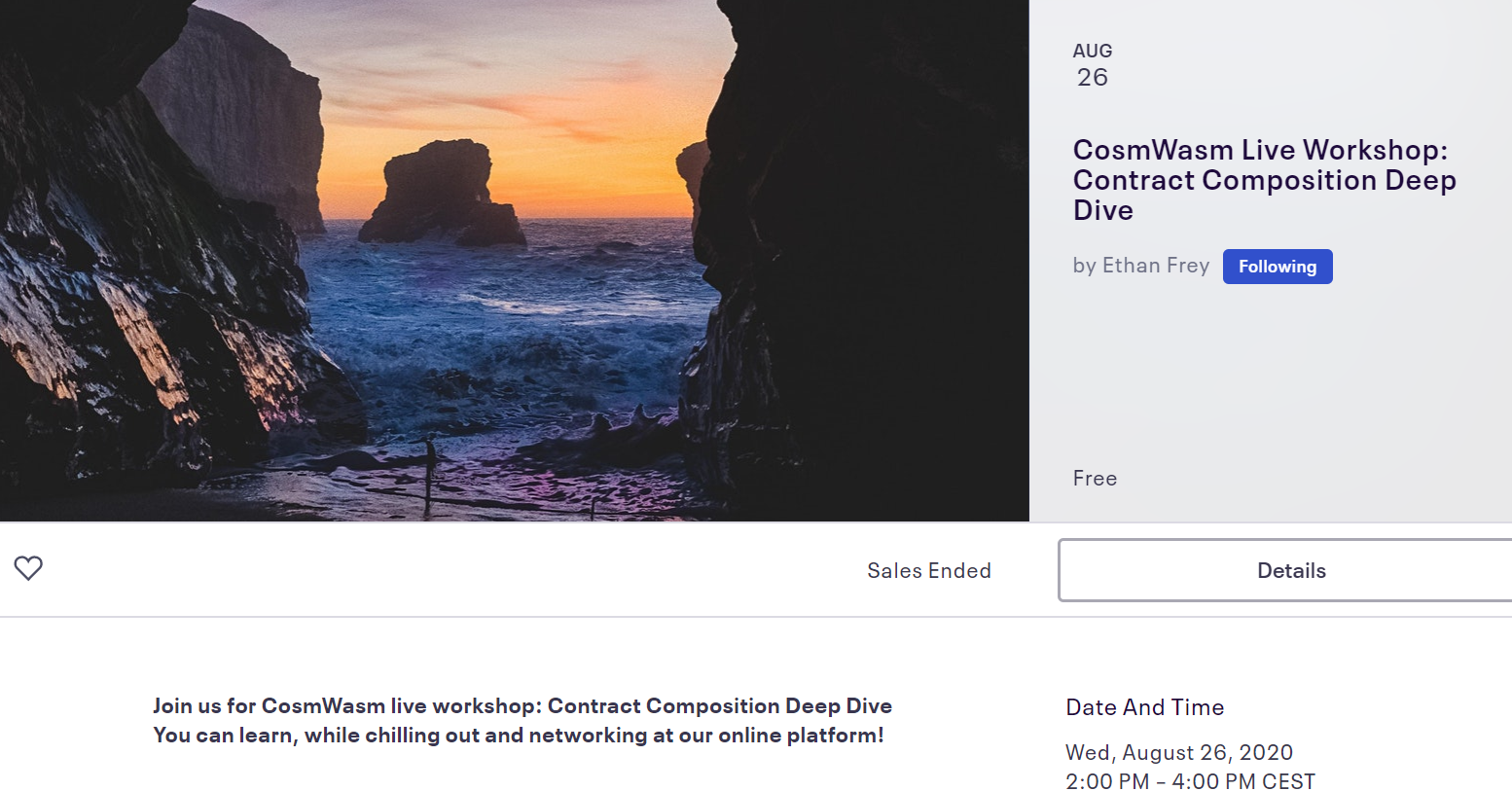 CosmWasm Live Workshop_ Contract Composition Deep Dive Tickets, Wed, Aug 26, 2020 at 2_00 PM _ Eventbrite - Google Chrome 28_08_2020 18_22_21 (3)